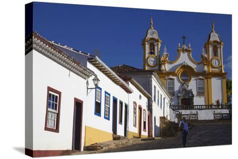 Colonial Houses and Matriz de Santo Antonio Church, Tiradentes, Minas Gerais, Brazil, South America-Ian Trower-Stretched Canvas Print