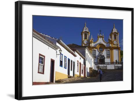 Colonial Houses and Matriz de Santo Antonio Church, Tiradentes, Minas Gerais, Brazil, South America-Ian Trower-Framed Art Print