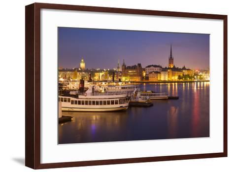 City Skyline from City Hall at Dusk, Kungsholmen, Stockholm, Sweden, Scandinavia, Europe-Frank Fell-Framed Art Print