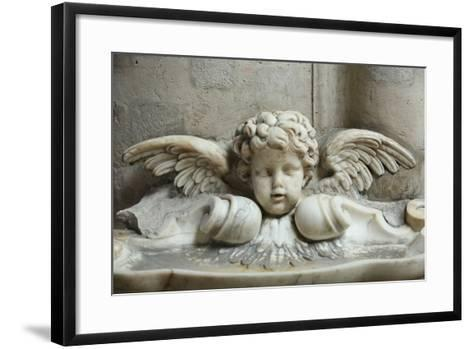 The 17th Century Holy Water Font, St. Germain l'Auxerrois Church, Paris, France, Europe-Godong-Framed Art Print