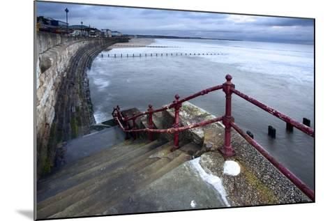 Sea Steps and Incoming Tide at North Sands, Bridlington, East Riding of Yorkshire, England, UK-Mark Sunderland-Mounted Photographic Print