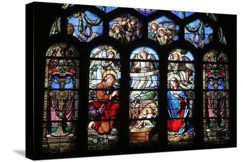 Stained Glass Window Depicting the Nativity, St. Eustache Church, Paris, France, Europe-Godong-Stretched Canvas Print