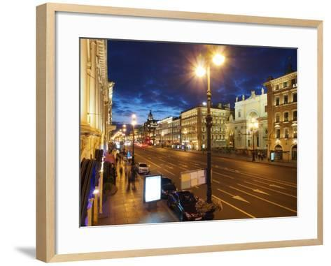 Nevsky Prospekt at Night, St. Petersurg, Russia, Europe-Vincenzo Lombardo-Framed Art Print