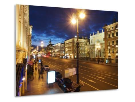 Nevsky Prospekt at Night, St. Petersurg, Russia, Europe-Vincenzo Lombardo-Metal Print