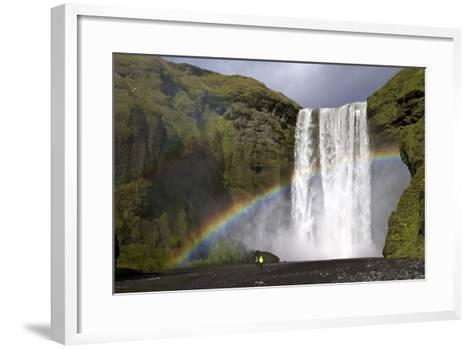 Skogafoss Waterfall with Rainbow in Summer Sunshine, South Coast, Iceland, Polar Regions-Peter Barritt-Framed Art Print
