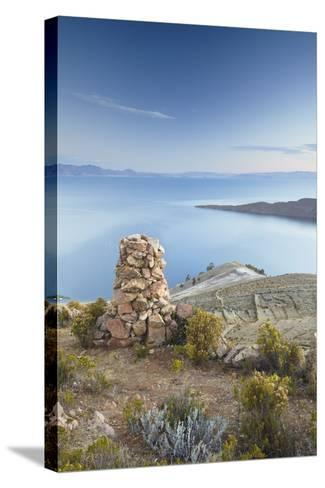 Stack of Prayer Stones on Isla del Sol (Island of the Sun), Lake Titicaca, Bolivia, South America-Ian Trower-Stretched Canvas Print