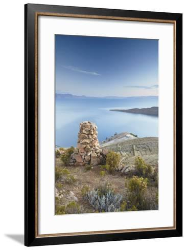 Stack of Prayer Stones on Isla del Sol (Island of the Sun), Lake Titicaca, Bolivia, South America-Ian Trower-Framed Art Print