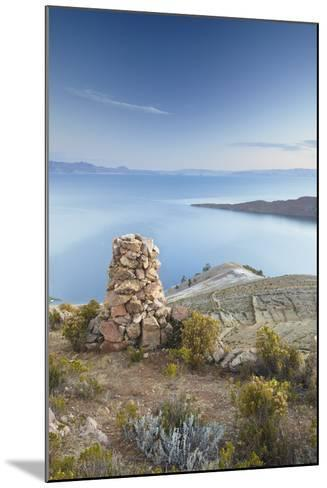 Stack of Prayer Stones on Isla del Sol (Island of the Sun), Lake Titicaca, Bolivia, South America-Ian Trower-Mounted Photographic Print