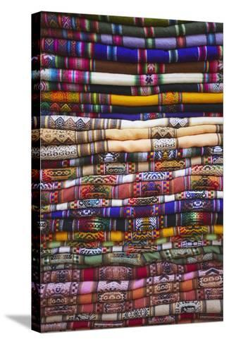 Colourful Blankets in Witches' Market, La Paz, Bolivia, South America-Ian Trower-Stretched Canvas Print