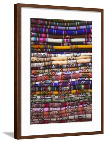 Colourful Blankets in Witches' Market, La Paz, Bolivia, South America-Ian Trower-Framed Art Print