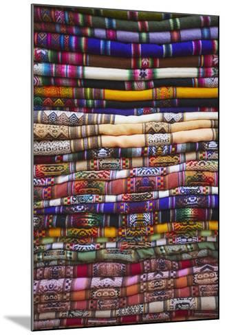 Colourful Blankets in Witches' Market, La Paz, Bolivia, South America-Ian Trower-Mounted Photographic Print