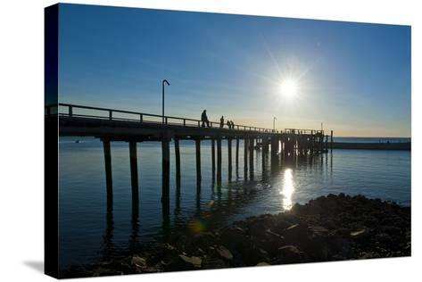 Pier at Sunset at Fraser Island, UNESCO World Heritage Site, Queensland, Australia, Pacific-Michael Runkel-Stretched Canvas Print