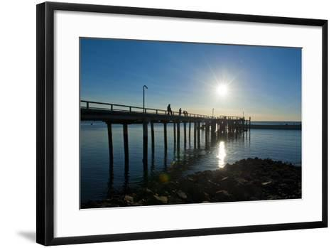 Pier at Sunset at Fraser Island, UNESCO World Heritage Site, Queensland, Australia, Pacific-Michael Runkel-Framed Art Print