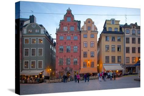 Stortorget Square Cafes at Dusk, Gamla Stan, Stockholm, Sweden, Scandinavia, Europe-Frank Fell-Stretched Canvas Print