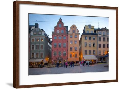 Stortorget Square Cafes at Dusk, Gamla Stan, Stockholm, Sweden, Scandinavia, Europe-Frank Fell-Framed Art Print