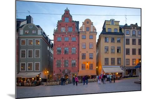 Stortorget Square Cafes at Dusk, Gamla Stan, Stockholm, Sweden, Scandinavia, Europe-Frank Fell-Mounted Photographic Print