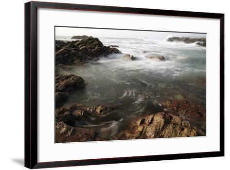 Sea Swirling around Rocks, Near Polzeath, Cornwall, England, United Kingdom, Europe-Nick Upton-Framed Art Print