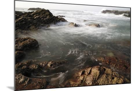 Sea Swirling around Rocks, Near Polzeath, Cornwall, England, United Kingdom, Europe-Nick Upton-Mounted Photographic Print