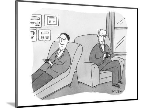 A man is on the couch in his therapist's office and they are texting each ? - New Yorker Cartoon-Peter C. Vey-Mounted Premium Giclee Print