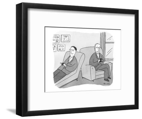 A man is on the couch in his therapist's office and they are texting each ? - New Yorker Cartoon-Peter C. Vey-Framed Art Print
