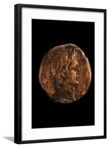 A Bronze Coin with the Profile of Roman Emperor Augustus-Kenneth Garrett-Framed Art Print