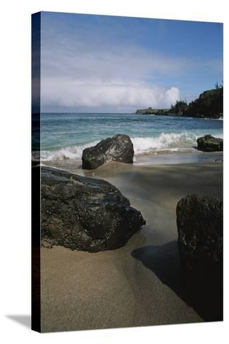 Volcanic Beach Rocks Along the West Coast of Maui-Marc Moritsch-Stretched Canvas Print