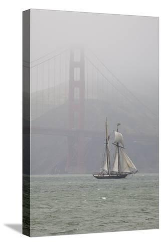 A Two Masted Schooner Sails under the Golden Gate Bridge-Skip Brown-Stretched Canvas Print