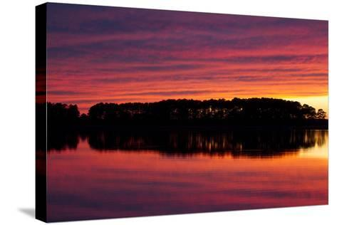 A Colorful Evening Sky over the Chesapeake Shoreline Near Kent Island-Skip Brown-Stretched Canvas Print
