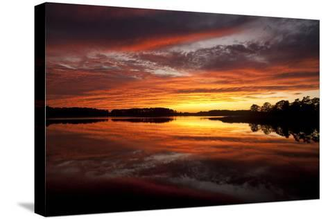 Sunset over a Chesapeake Bay Shoreline-Skip Brown-Stretched Canvas Print