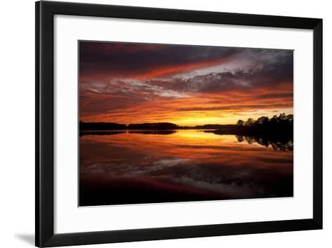 Sunset over a Chesapeake Bay Shoreline-Skip Brown-Framed Art Print