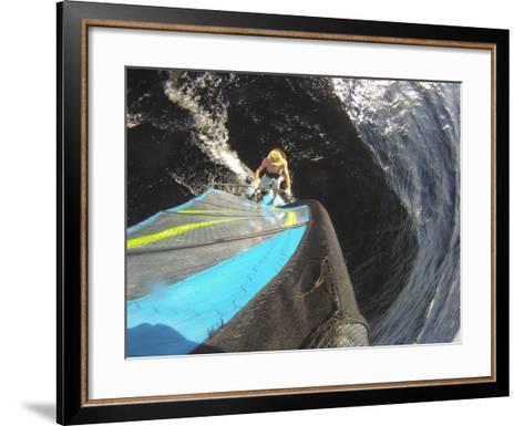 Mast Mounted Shot of a Man Windsurfing on Sebago Lake-Skip Brown-Framed Art Print