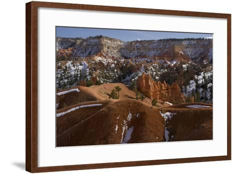 Snow-Dusted Landscape of Hills, Rock Formations and Pine Trees-Norbert Rosing-Framed Art Print