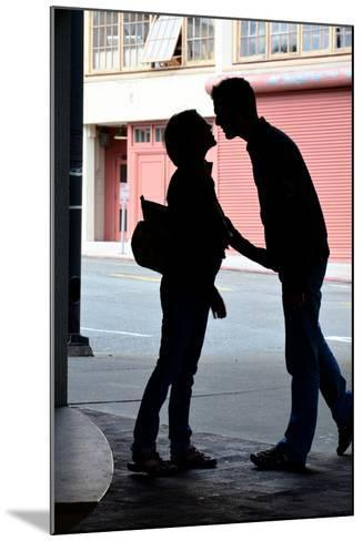Silhouette of Young Engaged Couple Bending Forward for a Kiss-Paul Damien-Mounted Photographic Print