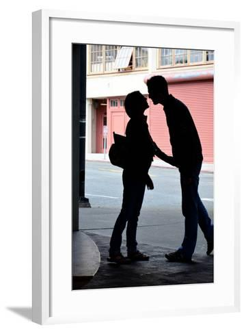 Silhouette of Young Engaged Couple Bending Forward for a Kiss-Paul Damien-Framed Art Print