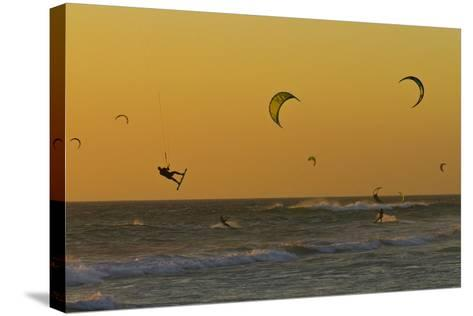 Kite Surfers at Sunset-Ralph Lee Hopkins-Stretched Canvas Print
