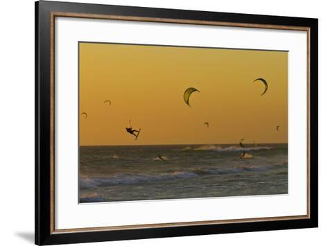 Kite Surfers at Sunset-Ralph Lee Hopkins-Framed Art Print
