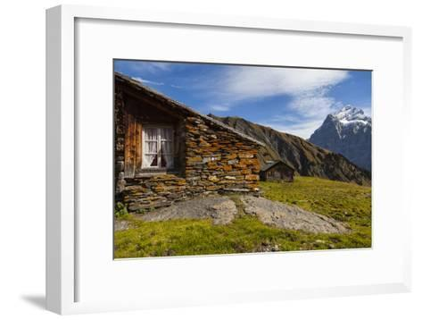 Swiss Alpine Homes Made of Stone Below Jungfrau Mountain-Jonathan Irish-Framed Art Print