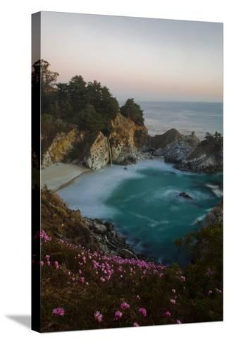 Mcway Waterfall and Pink Flowers Just after Sunset-Ben Horton-Stretched Canvas Print