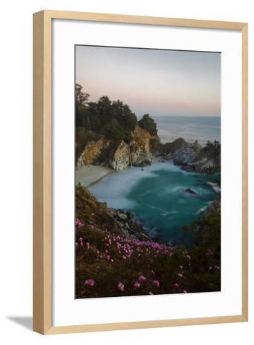 Mcway Waterfall and Pink Flowers Just after Sunset-Ben Horton-Framed Art Print
