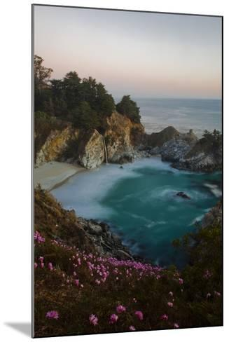 Mcway Waterfall and Pink Flowers Just after Sunset-Ben Horton-Mounted Photographic Print