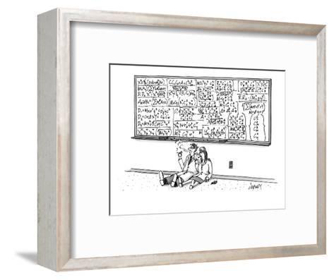 Two mathematicians sitting beneath a giant chalkboard smoking. - New Yorker Cartoon-Tom Cheney-Framed Art Print