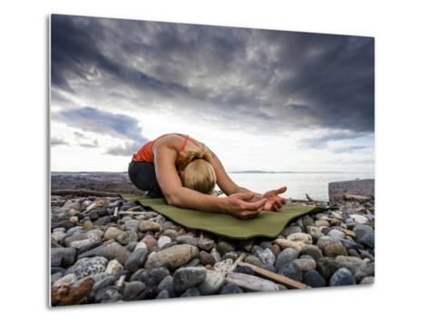 Yoga Position of Child's Pose in Lincoln Park - West Seattle, Washington-Dan Holz-Metal Print