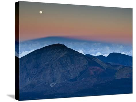 Moonrise over the Haleakala Crater,  Haleakala National Park, Maui, Hawaii.-Ian Shive-Stretched Canvas Print