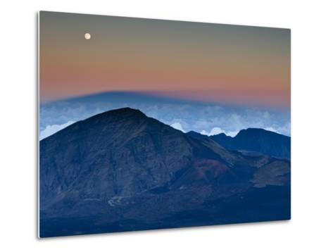 Moonrise over the Haleakala Crater,  Haleakala National Park, Maui, Hawaii.-Ian Shive-Metal Print