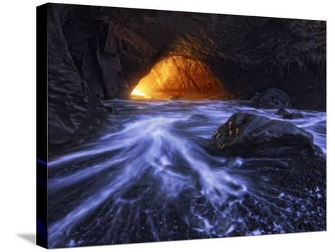A Sea Tunnel at Cape Kiwanda, Oregon Lights Up under Just the Right Conditions.-Miles Morgan-Stretched Canvas Print