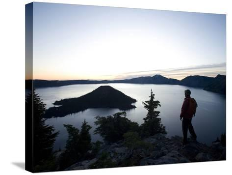 Young Man Hiking around Crater Lake National Park, Or.-Justin Bailie-Stretched Canvas Print
