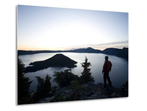 Young Man Hiking around Crater Lake National Park, Or.-Justin Bailie-Metal Print