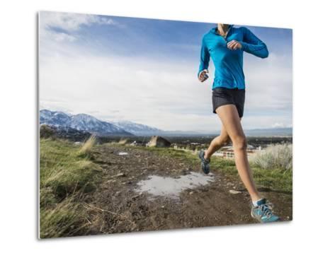 Women Trail Runner, Salt Lake City, Utah,-Brandon Flint-Metal Print