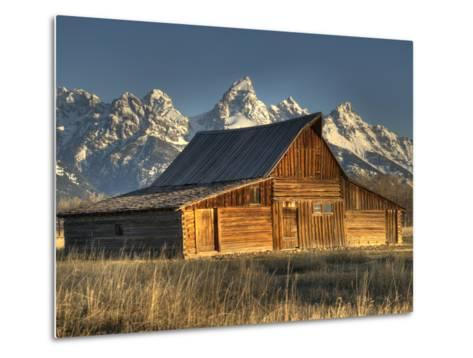 Sunrise at the Mormon Row Barn in Wyoming's Grand Teton National Park-Kyle Hammons-Metal Print