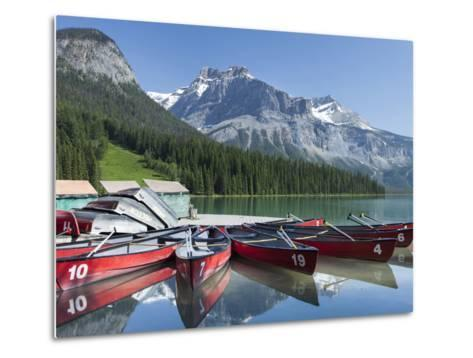 Boat Dock and Canoes for Rent on Emerald Lake, Yoho National Park,British Columbia-Howard Newcomb-Metal Print